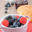 Mixed berry jam with bilberries, raspberries and blackberries — Stock Photo #29904601