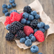 Bilberries, raspberries and blackberries fruits — Stock Photo