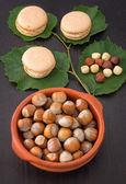 Macaroons with hazelnuts — Stock Photo