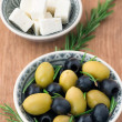 Cubed feta cheese with olives — Stock Photo #31811269
