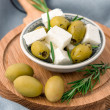 Cubed feta cheese with olives — Stock Photo #31952871
