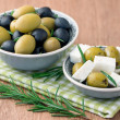 Cubed feta cheese with olives — Stock Photo #31954901