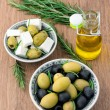 Cubed feta cheese with olives — Stock Photo
