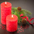 Stock Photo: Christmas decoration: fir sprig,candles, cones