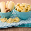 Bowl of tortellini homemade with cheese and walnuts — Stock Photo #33494783