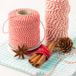 Cinnamon sticks, cones and kitchen string for christmas decor — Stock Photo