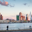 River skyline of the Dutch harbor city , Rotterdam — Stock Photo