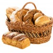 Fresh bread in the basket fully isolated — Stock Photo #27045557