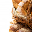 Fresh bread in the basket with copy space — Stock Photo