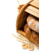 Bread still life on the white with copy space — Stock Photo