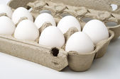 White eggs in the box — Stock Photo
