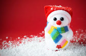 Snow santa on the red — Stock Photo