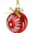 Red christmas bauble isolated on the white — Stock Photo