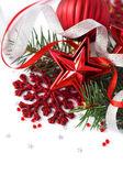 Adornos de navidad en el blanco — Foto de Stock