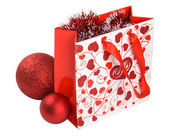 Gift packet with xmas decoration fully isolated — Stok fotoğraf