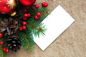 Christmas composition on canvas material — Stock Photo