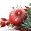 Red xmas decoration on the white — Stock Photo #31964225