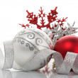 Red and silver xmas baubles — Foto de Stock