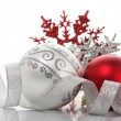 Stock Photo: Red and silver xmas baubles
