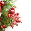 Red xmas decorations on white background — 图库照片