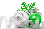 Green and silver xmas decoration — Photo