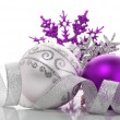 Purple and silver xmas decoration — ストック写真