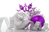 Purple and silver xmas decoration — Stock Photo