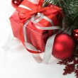 Christmas gift and decorations on the white — Stock Photo #33888703