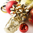 Champagne and new year (xmas) ornaments — Stock Photo #33888819