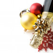 Champagne and new year (xmas) ornaments — Foto Stock