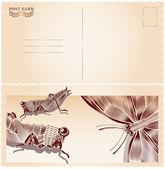 Butterfly meets crikets postcard — Stock Vector