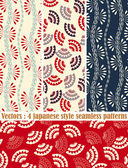 4 japanese style patterns — Stock Vector