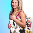 Blond with bag — Stock Photo
