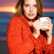 Coffee on the beach — Stock Photo