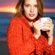 Stock Photo: Coffee on the beach