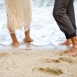 Feet in the sand. — Stock Photo