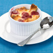 Raspberry bread pudding — Stock Photo