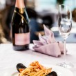 Stock Photo: Champagne and seafood