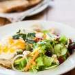 Stock Photo: Filled crepes and salad