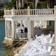 Table setting by the water — Stock Photo
