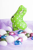 Green chocolate bunny — Stock Photo