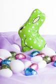 Green chocolate bunny — Stockfoto
