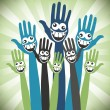 Stock Vector: Crazy face hands design.