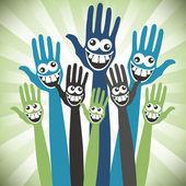Gek gezicht handen ontwerp. — Stockvector