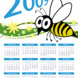 Stock Vector: 2009 bee and flowers vector calendar.