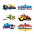 Collection of city skyline logos and icons. — Imagen vectorial