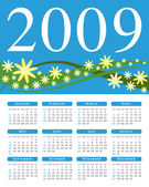 Bright flower calendar for 2009. — Stock Vector