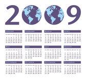 Simple 2009 world vector calendar. — Stock Vector