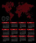 Heart shaped pixel world map calendar. — Stock Vector
