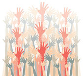 Large group of happy hands vector. — Stok Vektör